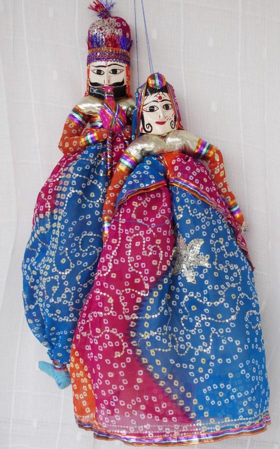 Blue Red Bandhani Kathputli Puppet