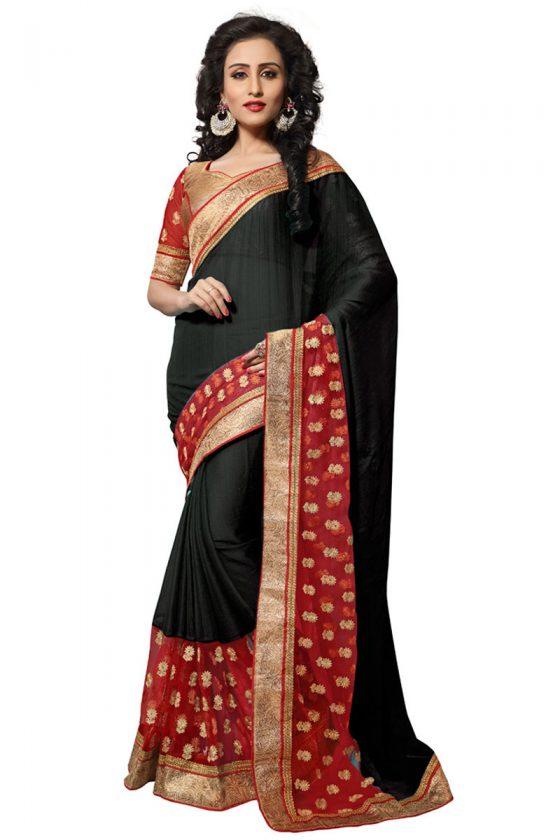 Black Chiffon Elegant Saree