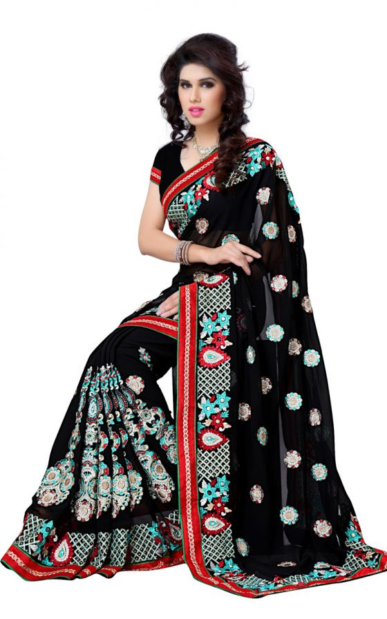Black-Georgette-Saree-dfs-468c