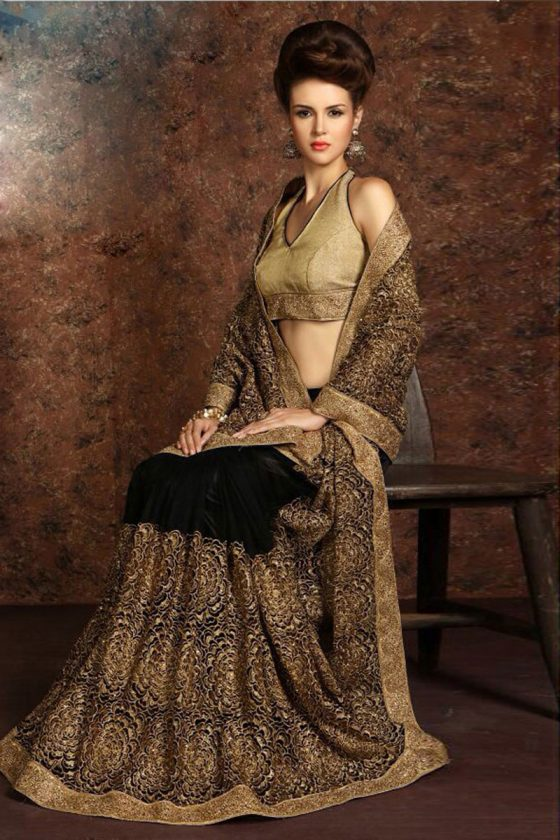 Black Net Bridal Saree