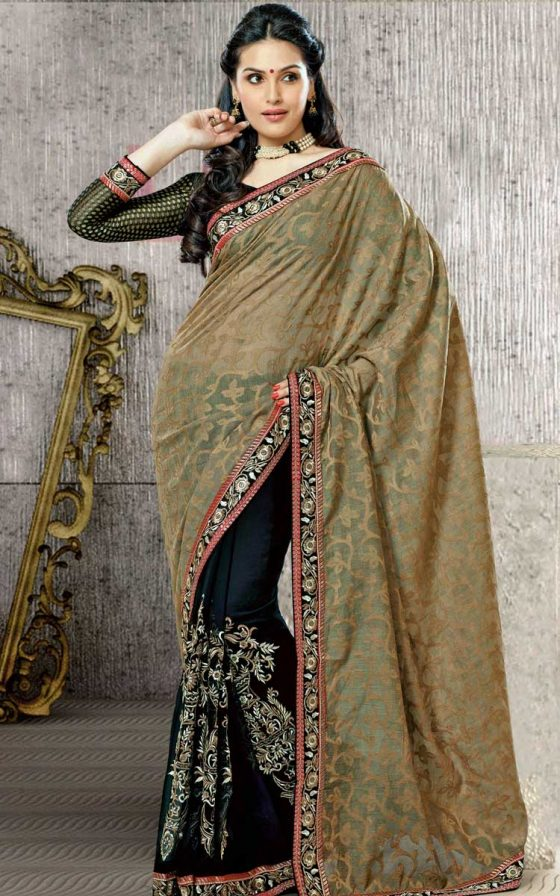 Black Net Jacquard Saree