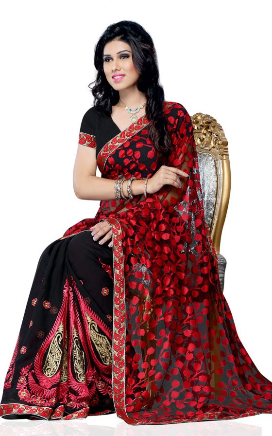 Black Net Party Wear Saree