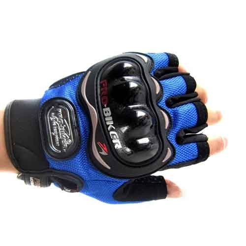 Blue Pro Biker Half Finger Gloves