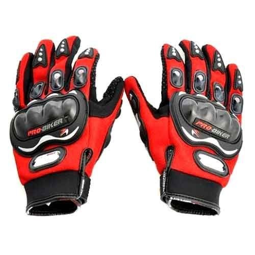 Red Pro Biker Riding Gloves